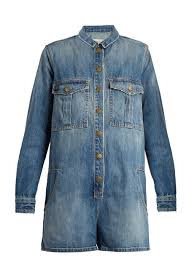 Current Elliott The Jamie denim playsuit Womens Mid blue Clothing