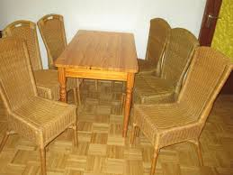 kiefer tisch mit 6 rattan stühle esszimmer stuhl tisch