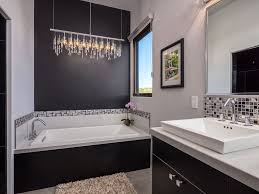 Chandelier Over Bathroom Vanity by Modern 3 4 Bathroom With High Ceiling U0026 Limestone Floors In Santa