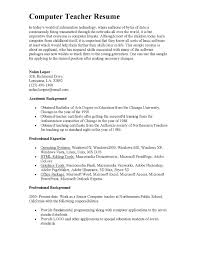 Resume Sample Cover Letter Application For Computer Teacher Job Fresher Fresh