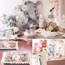 Pink And Gray Elephant Baby Shower Baby Shower Ideas