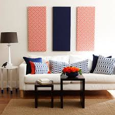 Patterned Navy Blue And Red Fabric Panel Wall Art