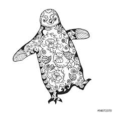 Download The Royalty Free Vector Cute Penguin Adult Antistress Coloring Page Designed