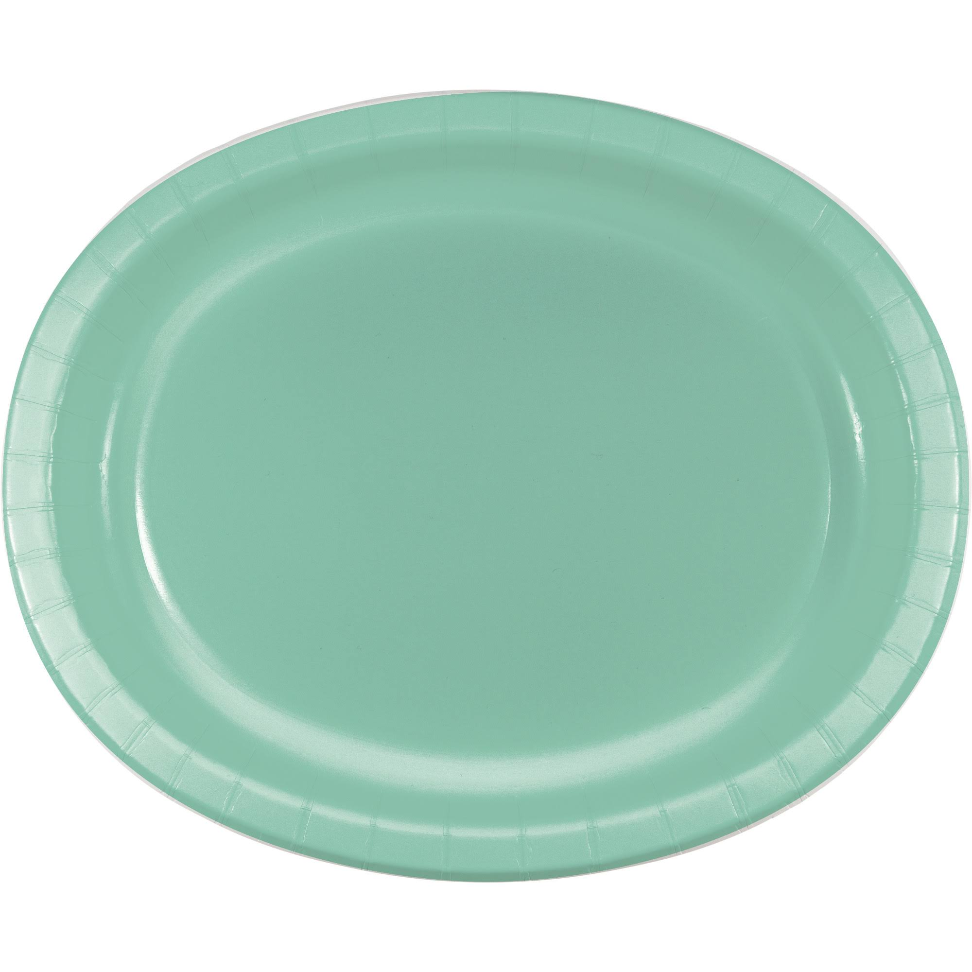 "Creative Converting 318885 12"" x 10"" Fresh Mint Green Oval Paper Platter - 8/Pack"