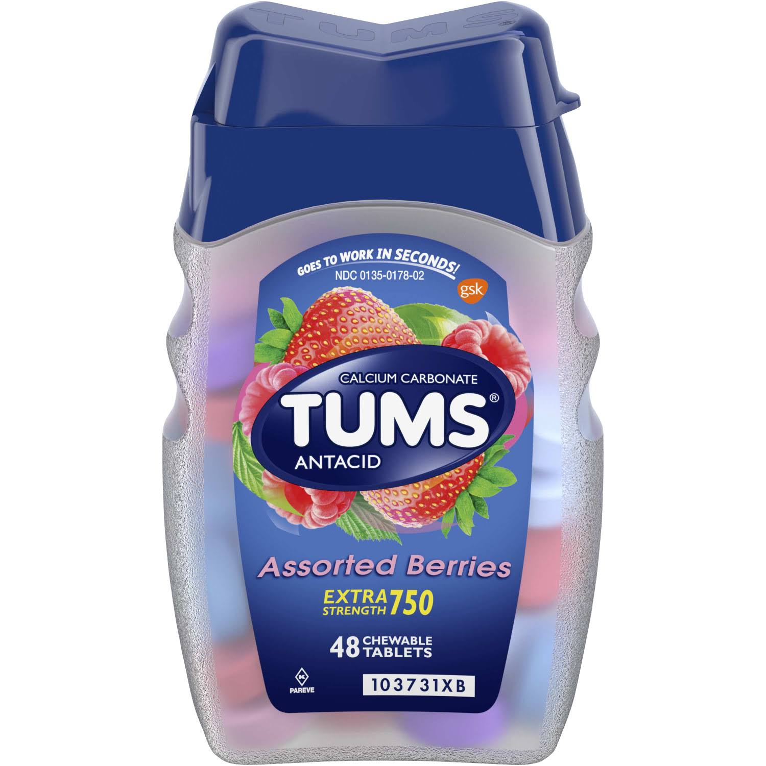 Tums Calcium Carbonate Antacid - Assorted Berries, 48 Chewable Tablets