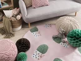 kinderteppich rosa ø 140 cm kaktus muster kurzflor eldivan