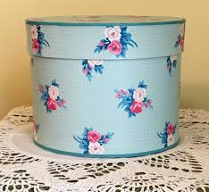 Small Vintage Hat Box -Lillian Vernon LVC 1988 - Pink Roses -Lidded Paper  Box - Cottage Farmhouse Style - Blue Polka Dots - Storage Box