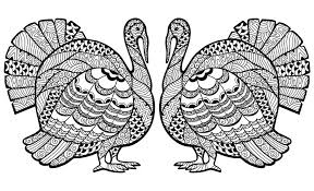 Turkey Day Coloring Pages Thanksgiving For Adults Line Drawings