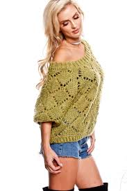 olive knitted off shoulder short sleeve sweater sweaters for women