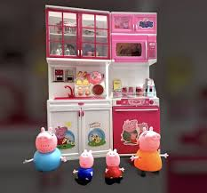 peppa pig and the amazingly family and battery operated kitchen set