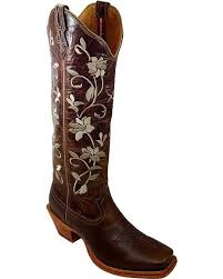 Twisted X Steppin Out Floral Embroidered Cowgirl Boots Square Toe