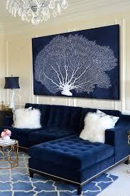 coral fan cyanotype canvas wall blaue wohnzimmer samt