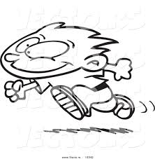 Cartoon Boy Running Coloring Pages Clipart