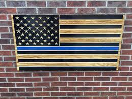 Blue Lives Matter Engraved Wooden American Flag