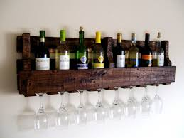 Reclaimed Wood From Pallets Makes A Rustic Home Bar Shelf For Wine And Spirits