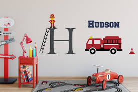 100 Fire Truck Wall Decals Name Decal With Initial And Fighter Boy