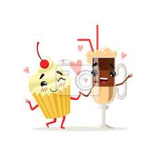 fototapete kaffee latte und kleiner kuchen mit kirsche an der spitze nette