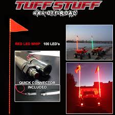 Tuff Stuff 6' Atv Utv Truck Red LED Whip Light & Safety Flag- RED ...
