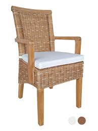 esszimmer stuhl mit armlehnen rattanstuhl braun perth mit ohne sitzkissen leinen weiß mit sitzkissen