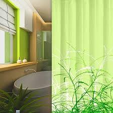 textil duschvorhang gräser design 180x200 cm inkl ringe grün hellgrün shower curtain green