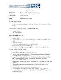 Executive Assistant Job Description Resumes Secretary Sample Legal For Resume Examples Recentresumes In Accurate More Paralegal