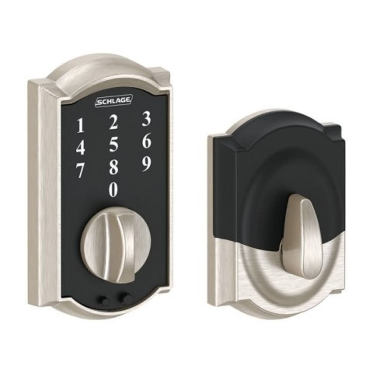 Schlage Touch Camelot Touchscreen Electronic Entry Door Deadbolt - With Keypad,Satin Nickel