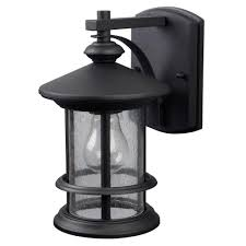 canarm 1 light black outdoor wall lantern with seeded glass