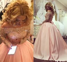 alluring plus size ball gown prom dresses bateau neck long sleeves