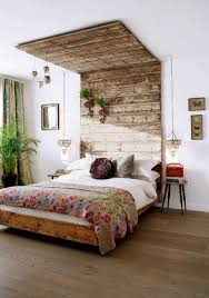 Stunning Rustic Cherry Wood Headboard Idea With White Bedding And Patterned Red Sheet Vintage Nighstand