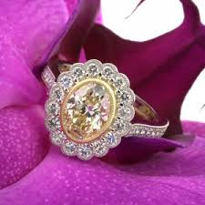 309ct Vintage Style Fancy Yellow Oval Cut Engagement Ring