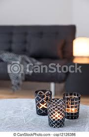 wohnzimmer graue sofa tea lights dekorieren wohnzimmer