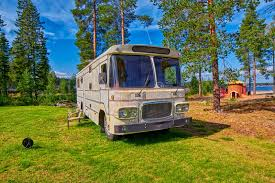 Download Big Old American RV Camping Car Stock Image