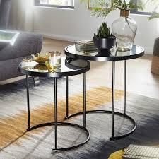 wohnling design beistelltisch rund ø 50 42 cm 2 teilig schwarz mit spiegel glas wohnzimmertisch