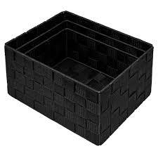 dekokörbchen rechteckig zur aufbewahrung regalboxen größen 24 x 18 x 14 cm 21 x 16 x 12 cm und 19 x 14 x 10 cm badkörbe schwarz