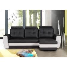 canapé noir et blanc canapé angle panoramique convertible simili carla pas cher à prix auchan