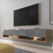 selsey wander tv board fernsehschrank für wohnzimmer hängend stehend 180 cm breit holzoptik wotan eiche grau hochglanz mit led