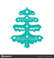 Christmas Tree Cutout Template Stencil Laser Cutting For Happy New Year File Silhouette Holiday Pattern Die Cut Vector Paper