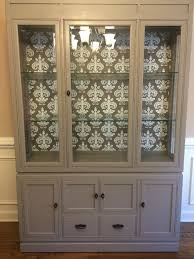 Wallpaper From Target Painted An Oak China Cabinet To Modernize It