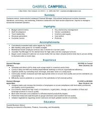 Restaurant Manager Resume Sample Flexible Depiction Example With Throughout General Food And
