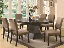 Modern Design Brown Finish 7pcs Round Oval Dining Room Table Chairs Set IC7M