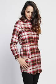 themogan long sleeve button down long top belted plaid tunic shirt