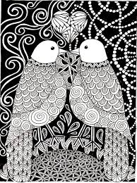 Free Coloring Page Adult Love Birds Two In
