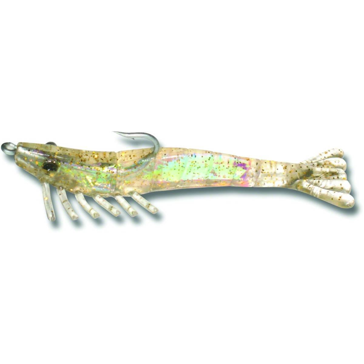 Billy Bay 772-4-3-2 Halo Shrimp Fishing Lures - 1/4oz, Clear Gold Sparkle, 3pk
