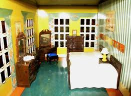 Playsteel Vintage 1940s Tin Lithographed Dollhouse Bedroom With Furniture