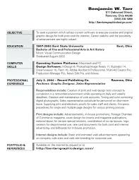 Sample Objectives In Resume For It Graphic Design Objective Example