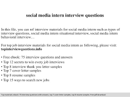 Social Media Intern Interview Questions In This File You Can Ref Materials For