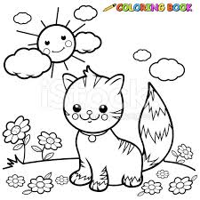 Cat Sitting On Grass Coloring Book Page Royalty Free Stock Vector Art