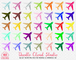 40 Colorful Airplane Clipart Travel Plane Holyday Planner Sticker