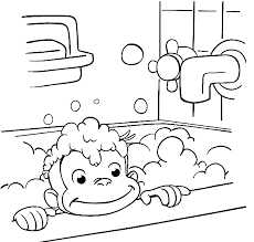 Curious George Is Bathing Coloring Pages For Kids Printable Free