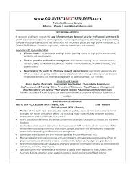 Police Officer Resume Example Templates Cover Letter Law Enforcement Template Format